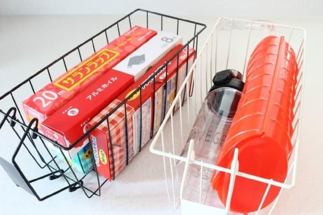 キッチンの戸棚は3COINS「持ち手付きバスケット」で整理!すっきり収納&出し入れも便利に