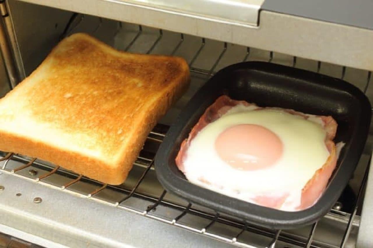 トーストと目玉焼きをオーブントースターで同時に--デュアルプラス オーブントースタープレート