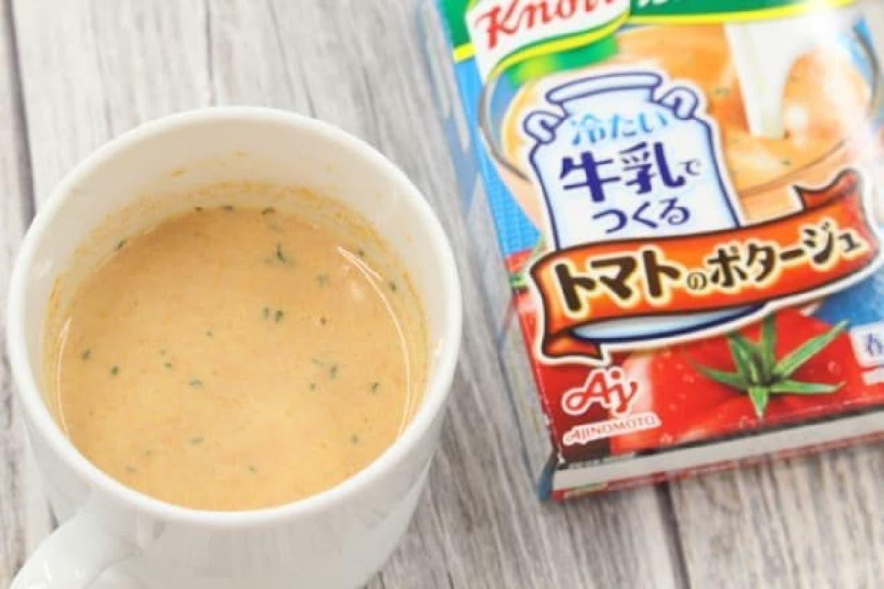 冷たい牛乳でつくるカップスープ