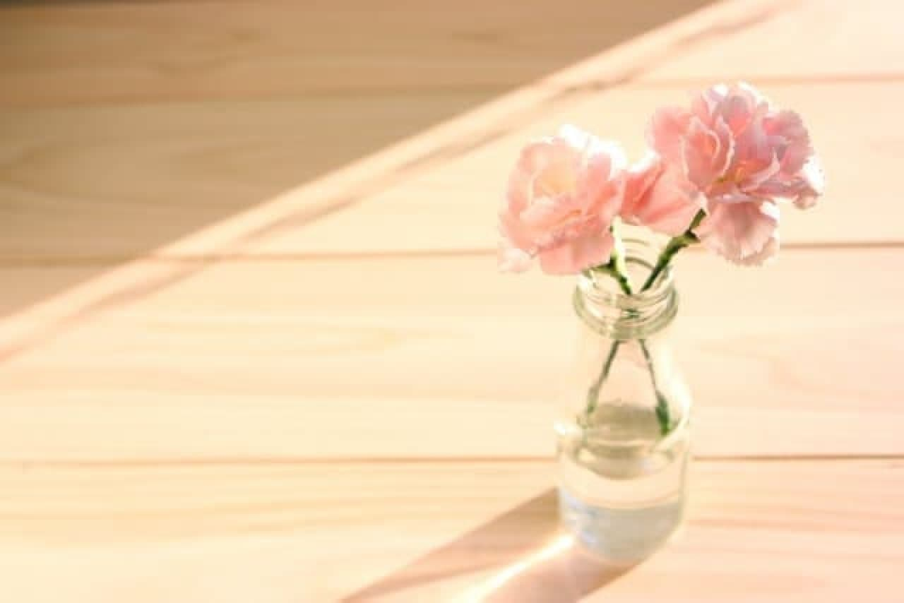花瓶に活けたカーネーション