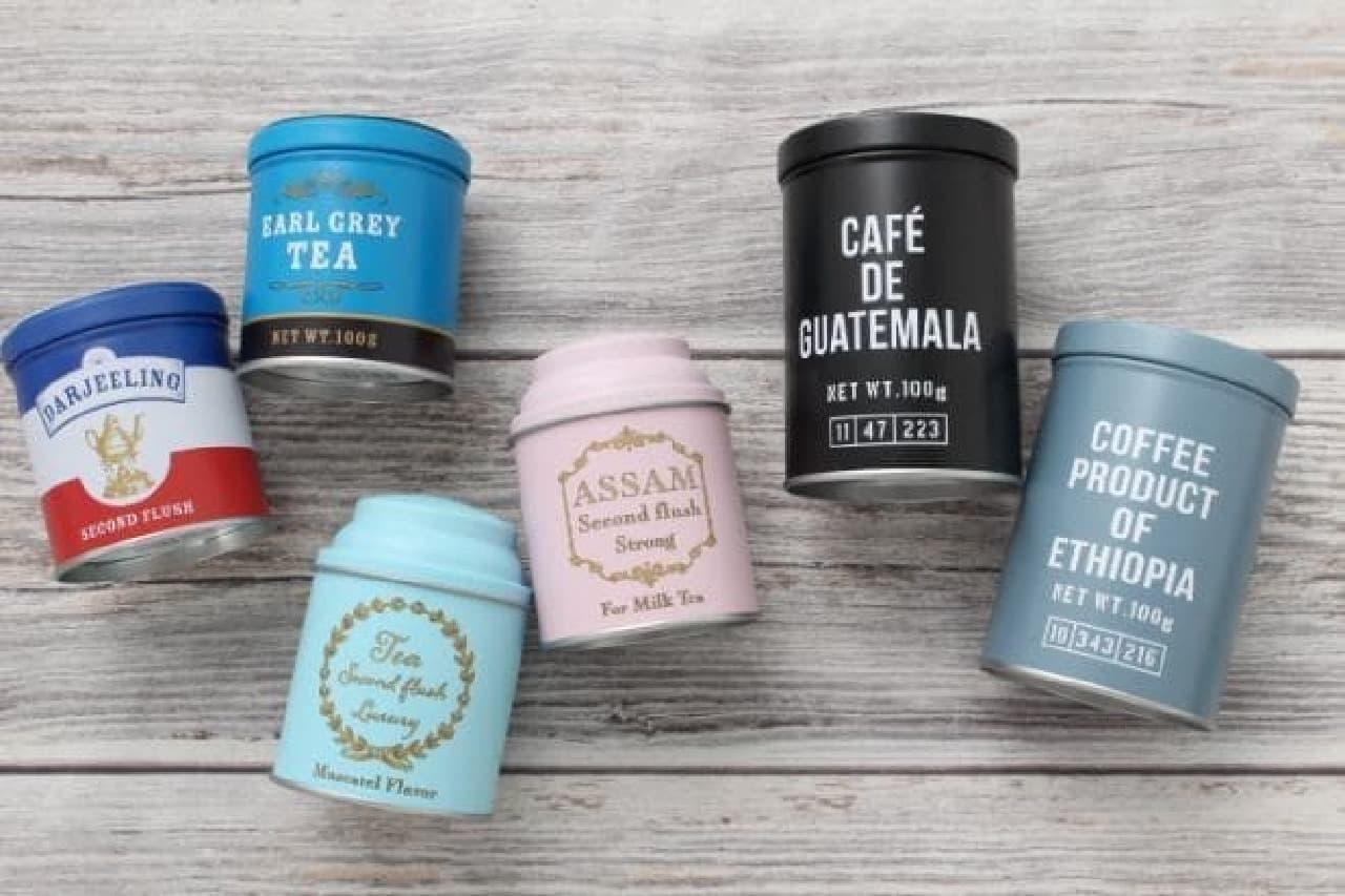 セリア 紅茶缶 コーヒー缶