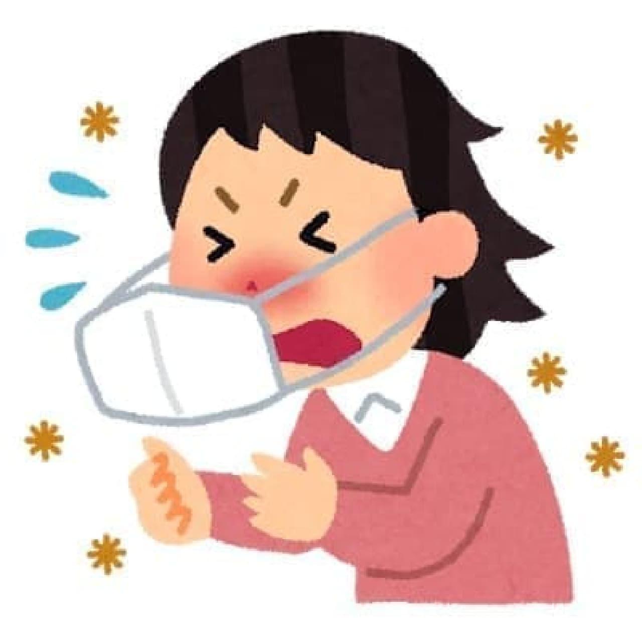 くしゃみをする人のイラスト