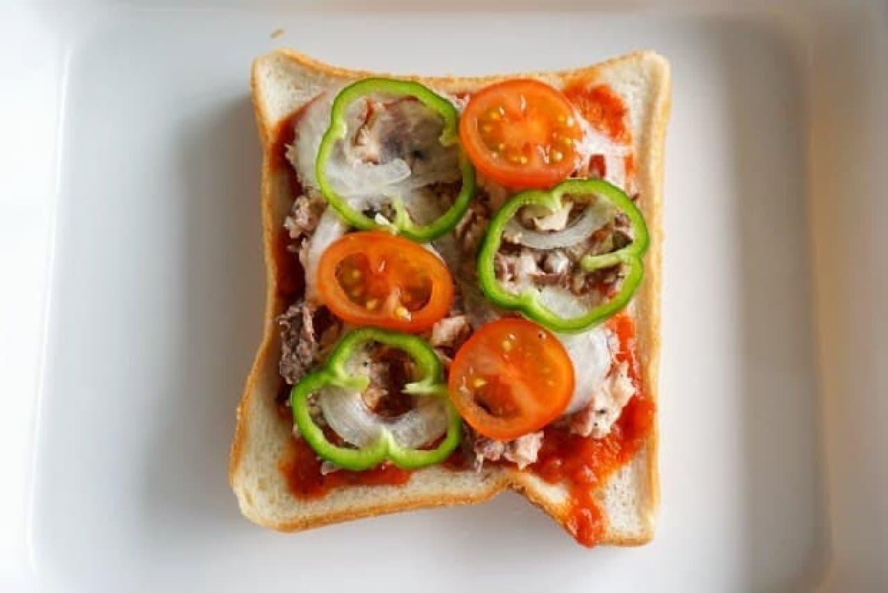 サバ缶のサバピザトースト