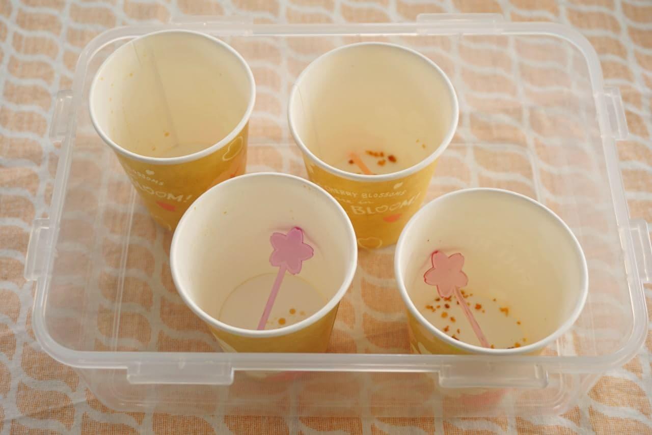 お花見に紙コップ弁当