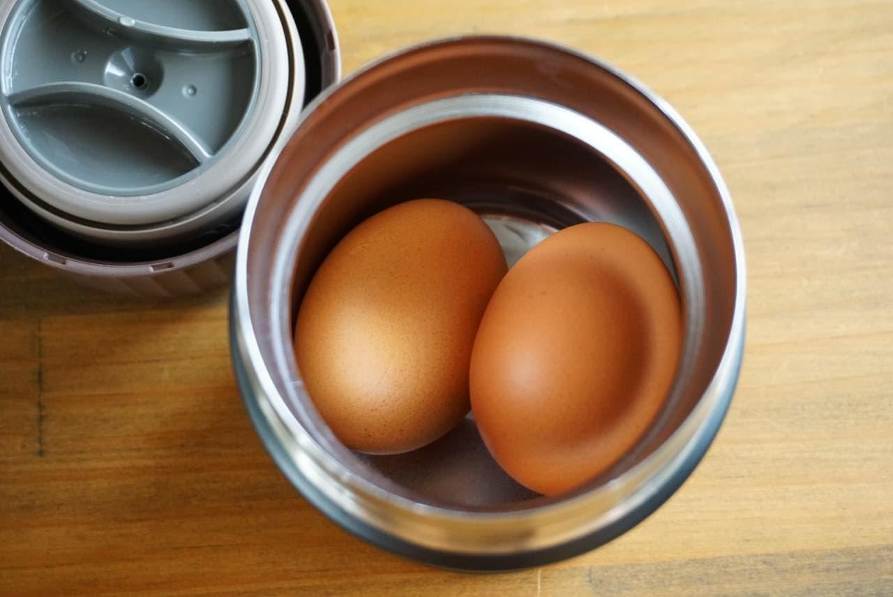 スープジャーで温泉卵