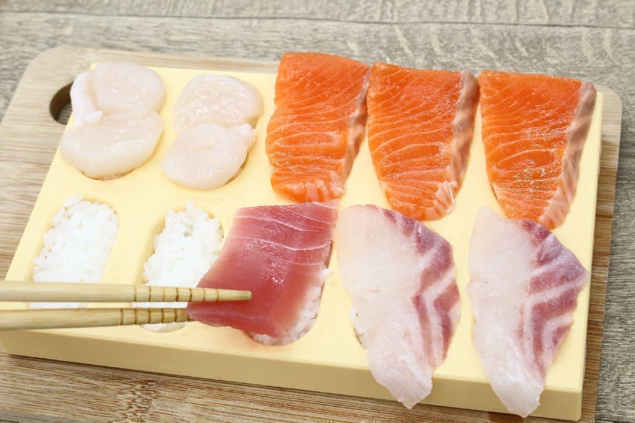 にぎり寿司10貫が1度にできて子どもの手作り&夏休みの昼ご飯にもぴったりの型「とびだせ! おすし」