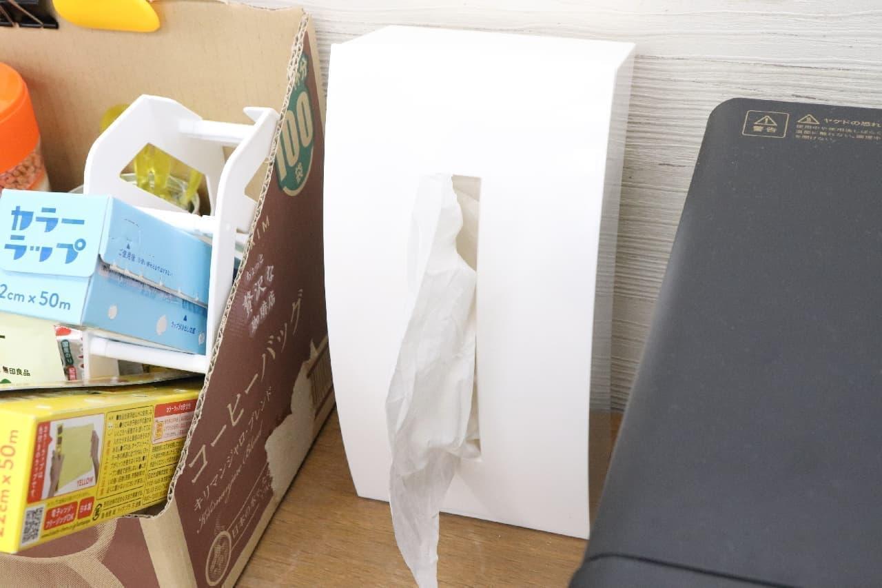 """ニトリで買えるティッシュケース BOWと薄型ティッシュペーパーBOX--縦&横置きできて洗面台に便利、""""ハーフサイズ""""機能で節約にも"""