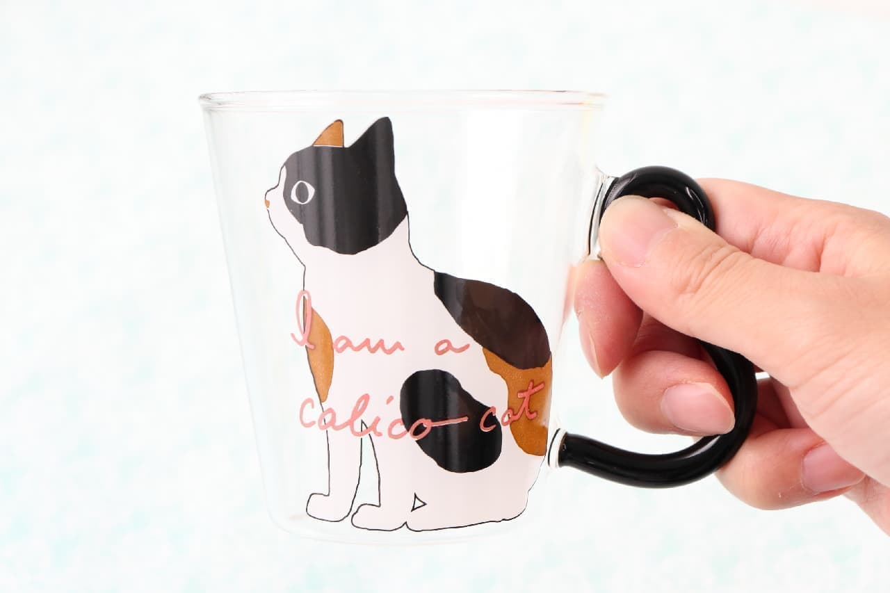 """猫のイラストが可愛い♪ニトリ「耐熱ガラスマグ」--くるんとした""""シッポ""""が取っ手"""