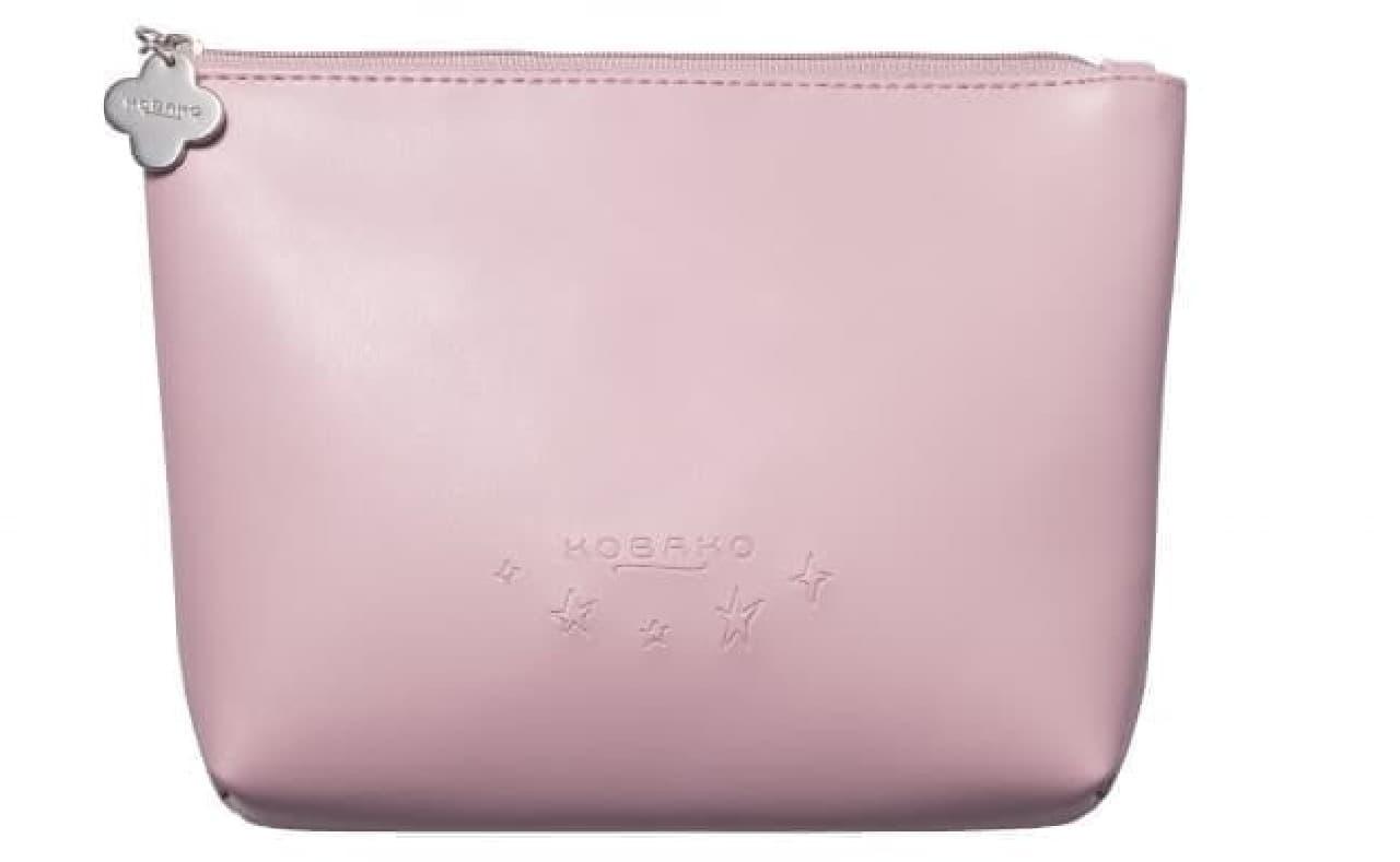 コバコ「コスメティックミラーセット ピンク」のポーチ