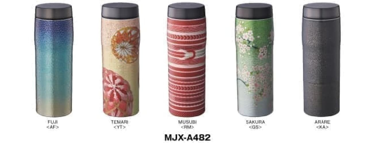さくらや富士山を描いた優美なステンレスボトル--桐箱入りで贈り物にも