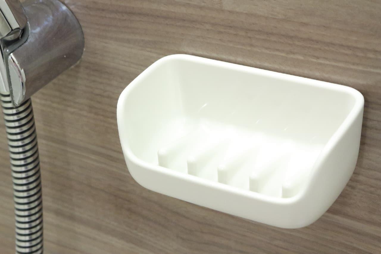 風呂場の石けんにおすすめ♪マーナ「マグネット石けん置き」--壁に簡単取り付け、水切れも抜群