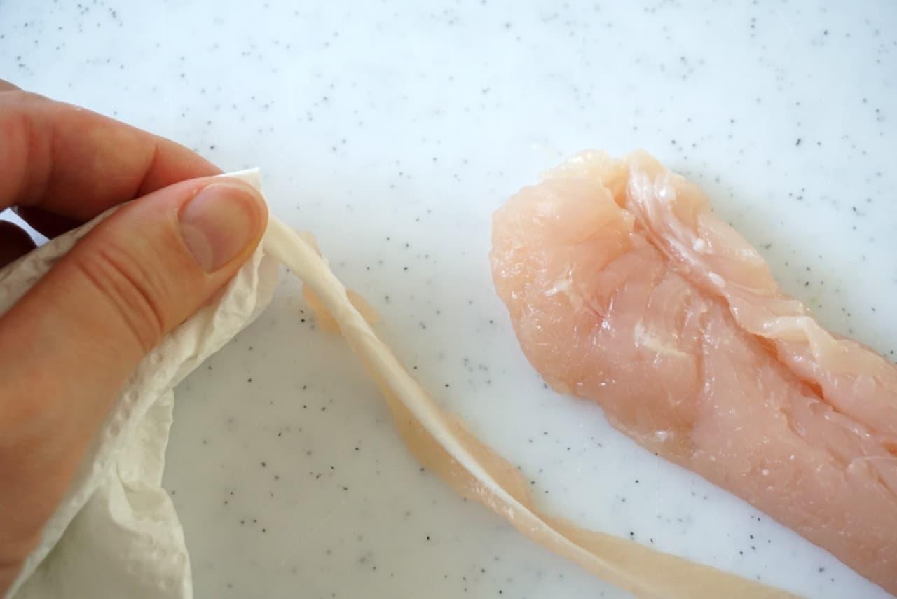 鶏ささみの筋を一瞬で取る方法