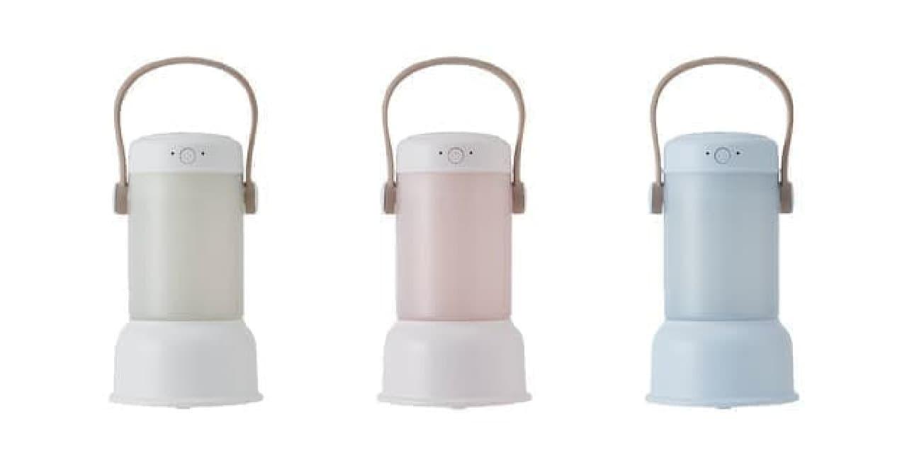 寝室をやさしく照らす「ポータブル加湿器 ランタン」 -- 電源コード不要で持ち運び便利