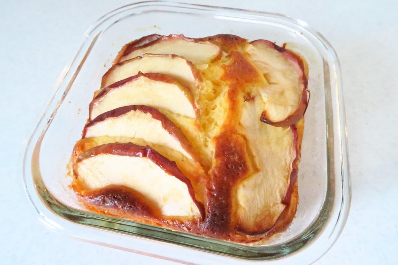 ホットケーキミックスで簡単♪ りんごとヨーグルトのケーキ -- ダイソー「耐熱ガラス容器」を活用