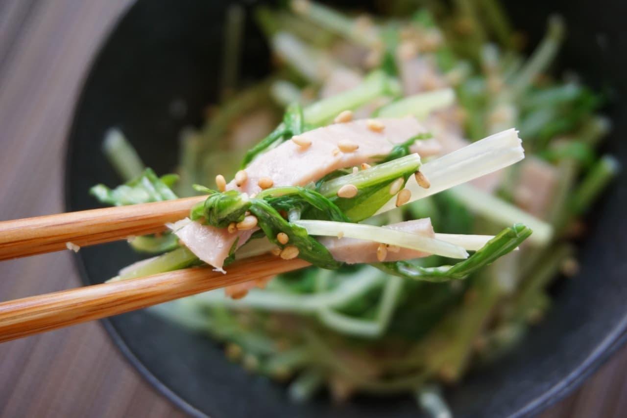 水菜とハムのマヨポンサラダ