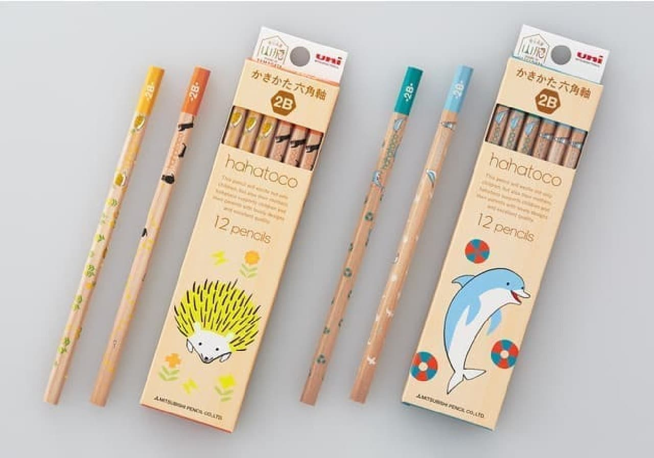 北欧風の学童鉛筆「hahatoco(ハハトコ)」からハリネズミ柄 -- 爽やかなイルカ&カモメも