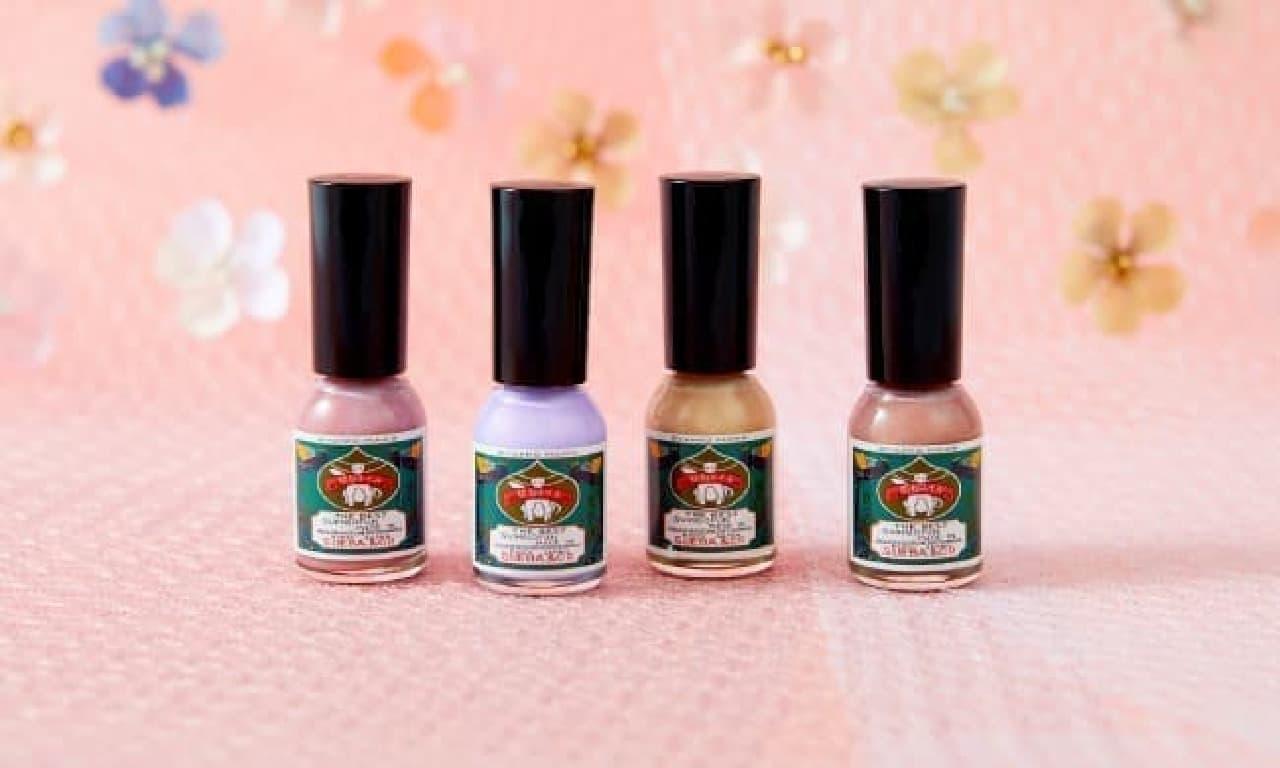 胡粉ネイル「輝かシリーズ -4種の春色-」