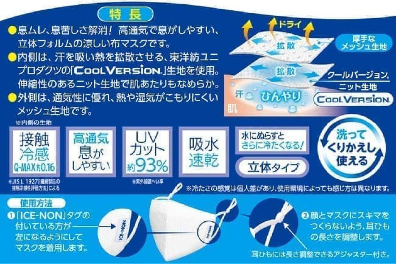 暑い季節向き「アイスノン 冷涼感マスク 2枚入」通気性良し&ひんやりした使用感