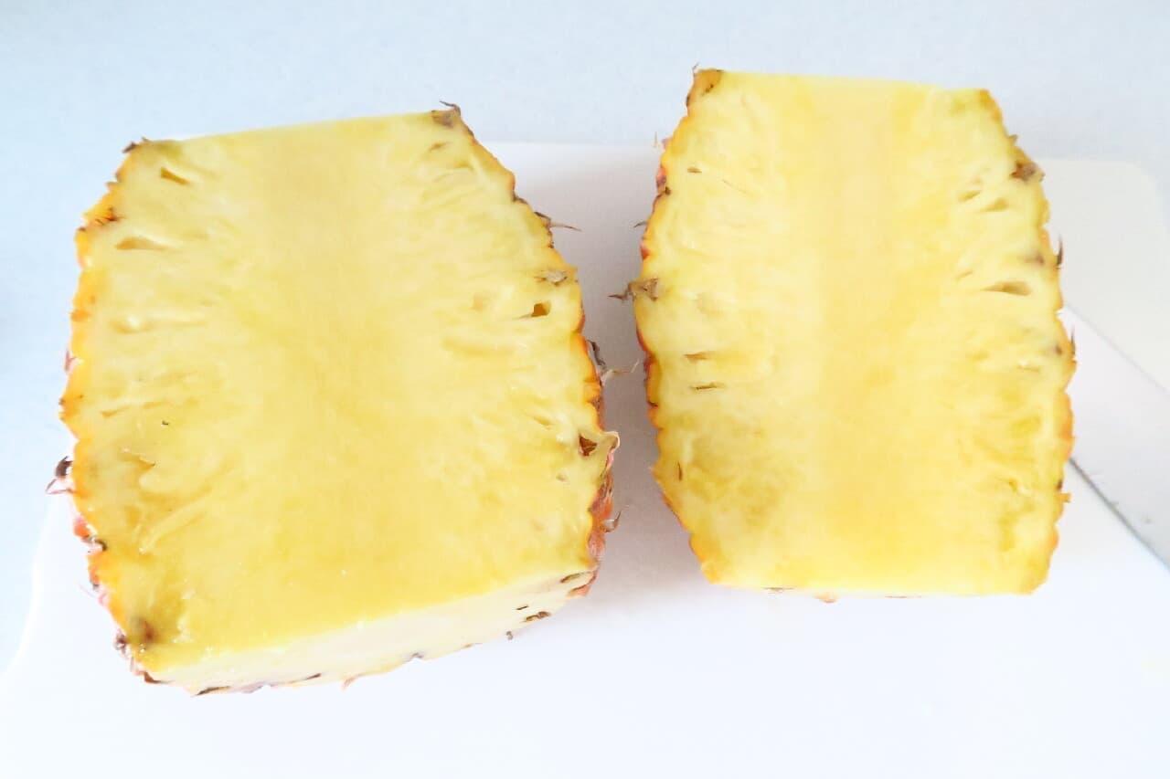 丸ごとパイナップル基本の切り方 -- 台湾産パイナップルも簡単・きれいに♪