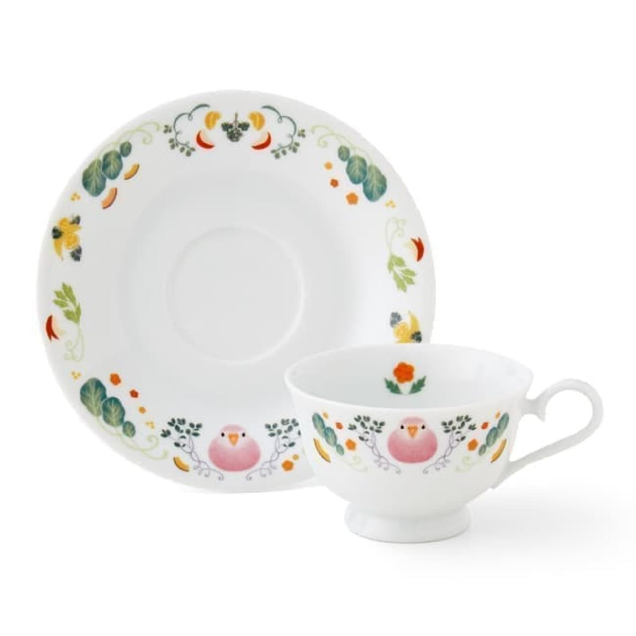 「ほっこりお茶会 インコのカップ&ソーサー」がユーモア雑貨ブランド「YOU+MORE!」から登場。
