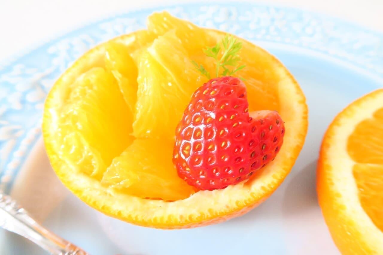 美しく盛りつけ♪ オレンジの飾り切り -- 皮の器にこんもりと