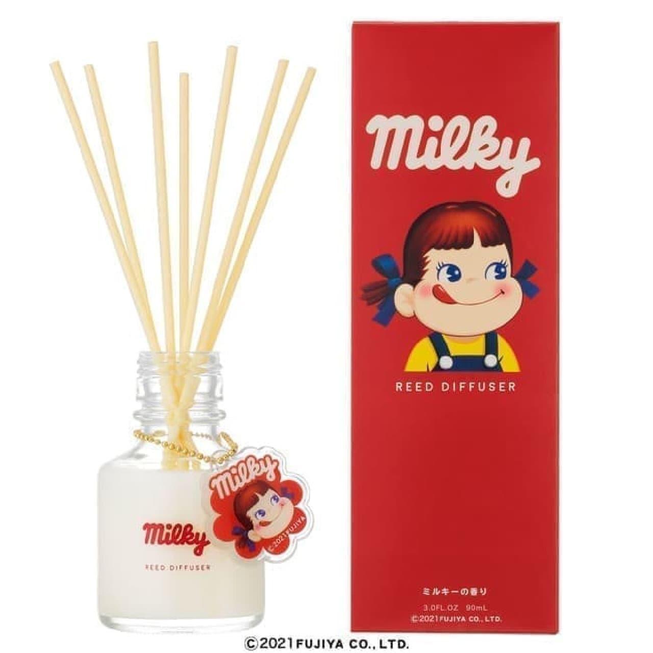 「ペコちゃん ミルキーの香り リードディフューザー」ドンキ限定で -- 可愛いキーホルダー付き