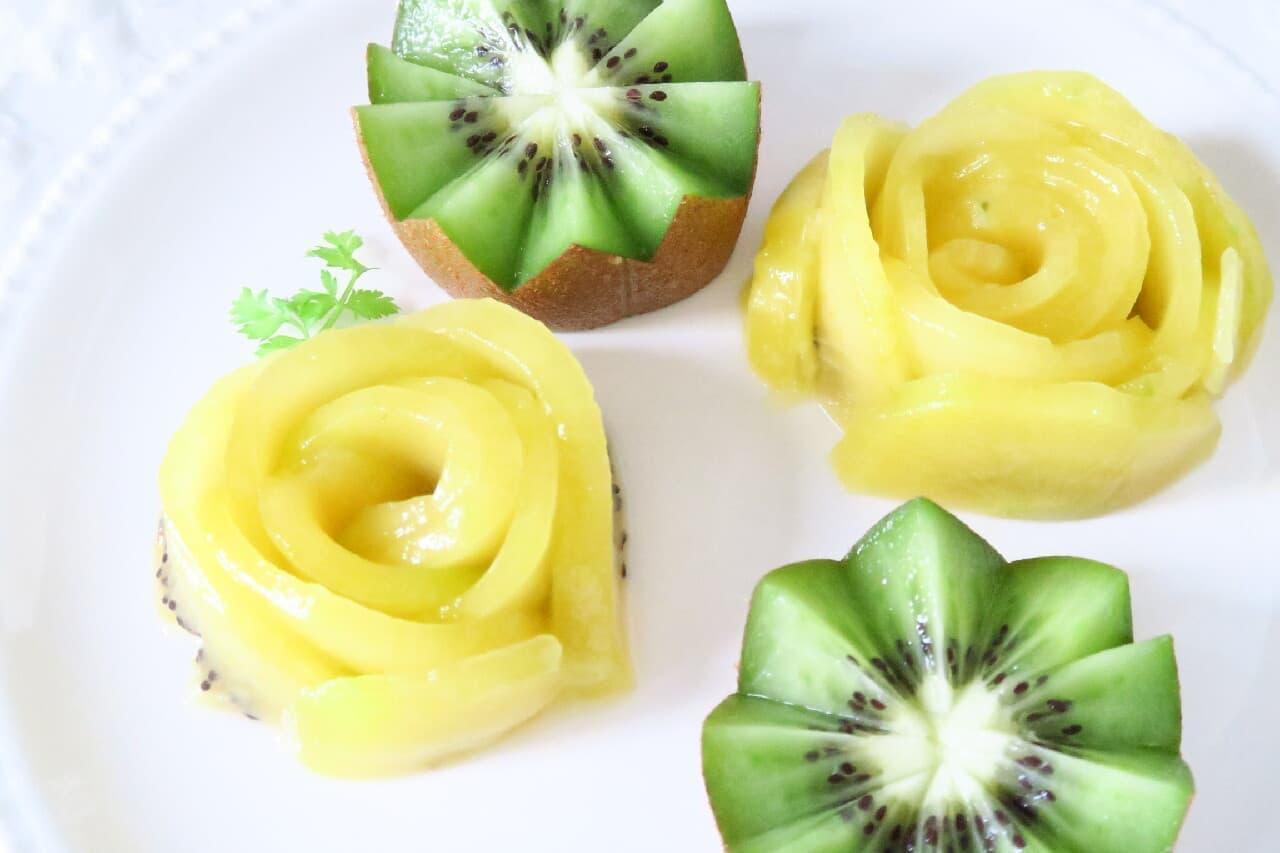 バラ型&花型も簡単!キウイの飾り切り -- デザート・デコレーションに