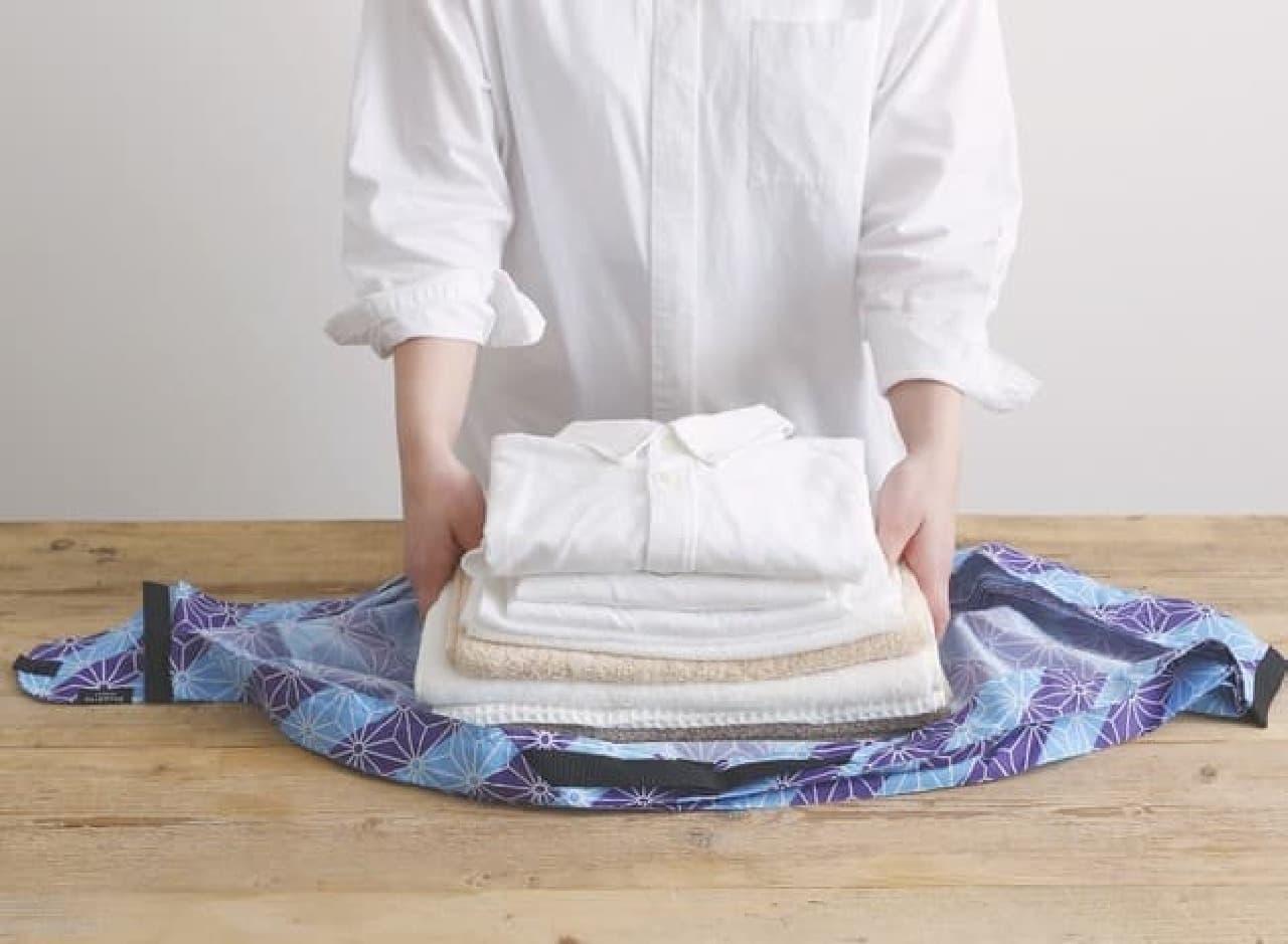 「和 Shupatto コンパクトバッグ L」大容量サイズ -- 桜・扇などの和柄エコバッグ
