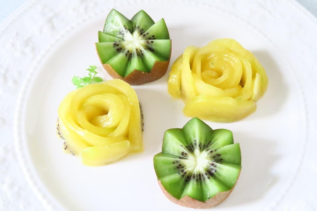 果物の飾り切りまとめ -- いちご・キウイが可愛い花型やハートに