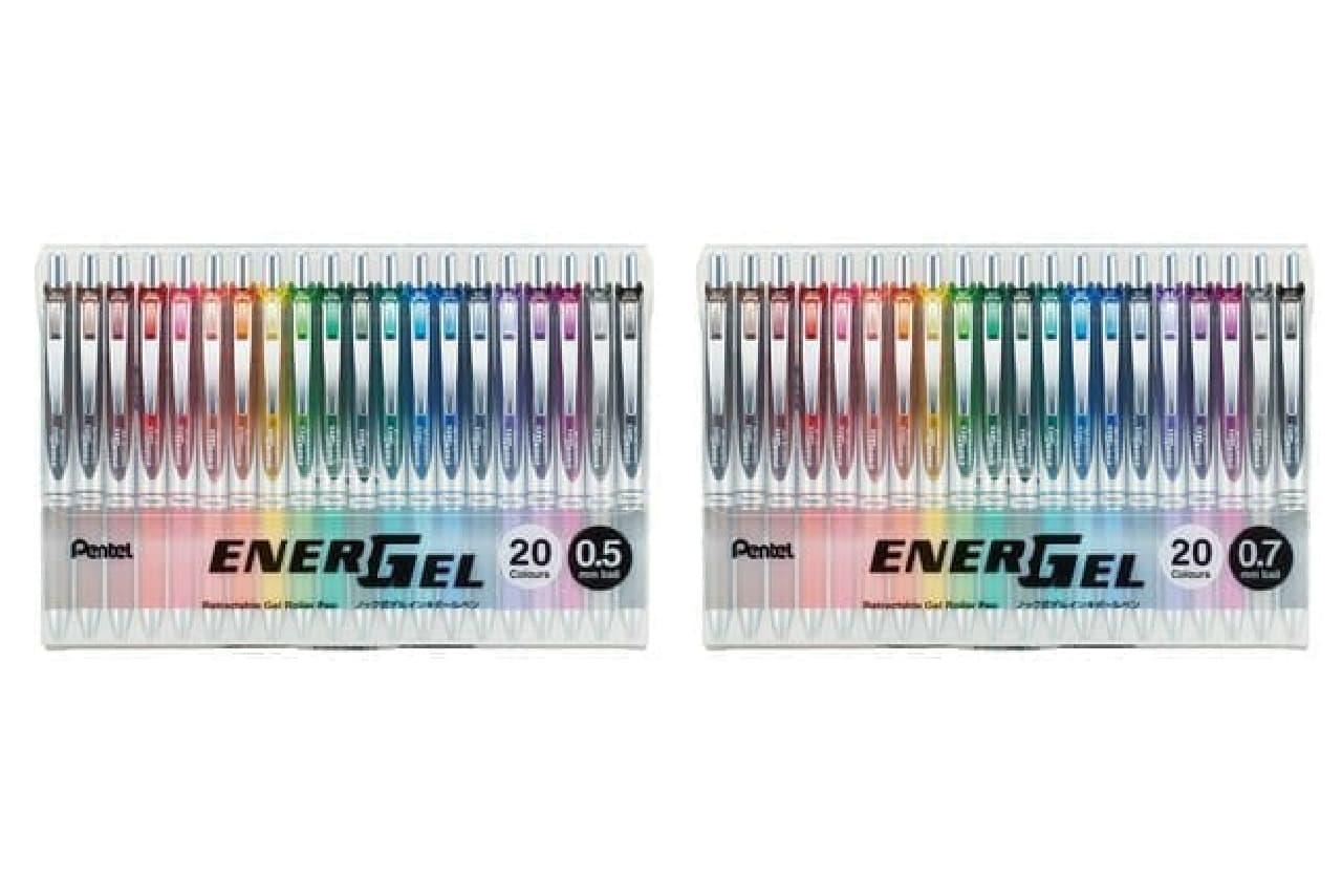 20周年記念!速乾ゲルインキボールペン「エナージェル」限定カラー -- 濃く鮮やかな全20色