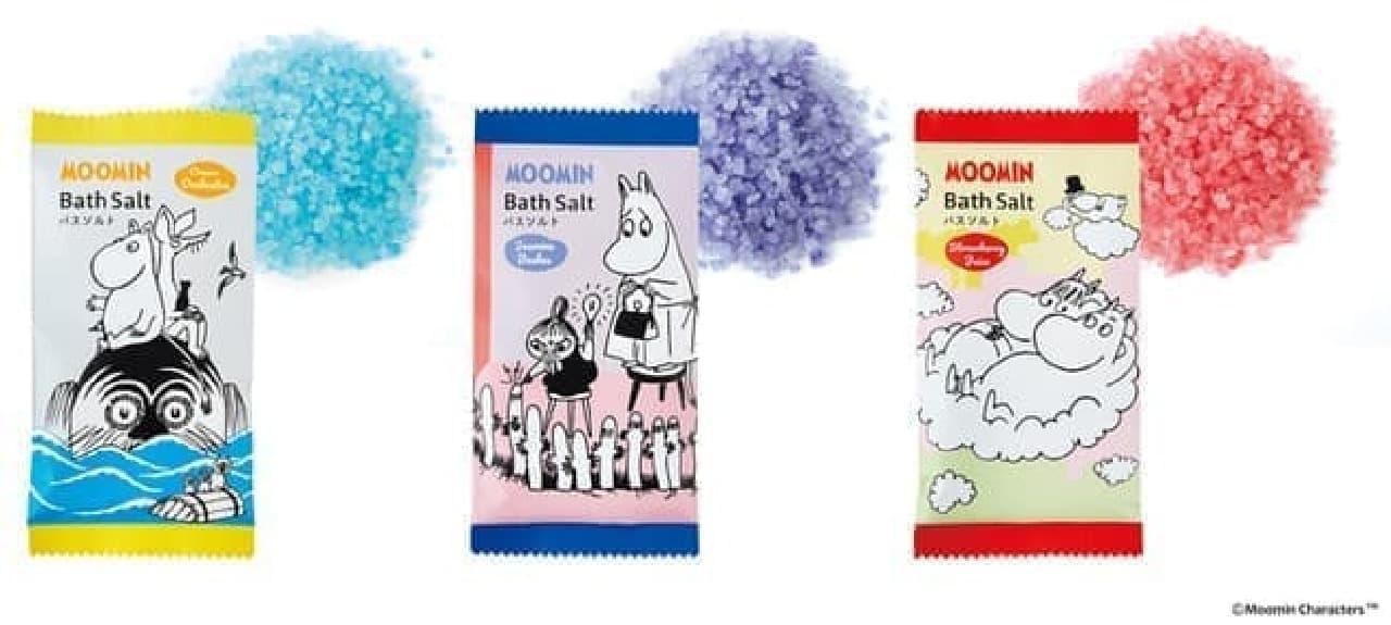 夏のお風呂に♪ 「ムーミン バスソルト」3種 -- 可愛いバイカラーのバスボムも