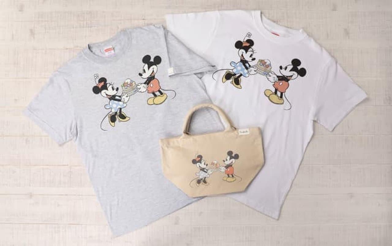 サラベス ルミネ新宿店からミッキーのTシャツ&トートバッグ -- パンケーキを持つ姿が可愛い