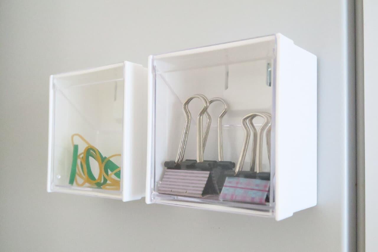 100均マグネットスイングケースをクリップ・輪ゴム入れに♪ 冷蔵庫につけて簡単出し入れ