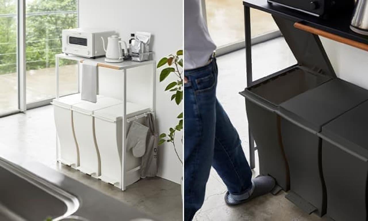 山崎実業の新商品「マグネットドライヤーホルダー タワー」ゴミ箱上ラックやカトラリースタンドも