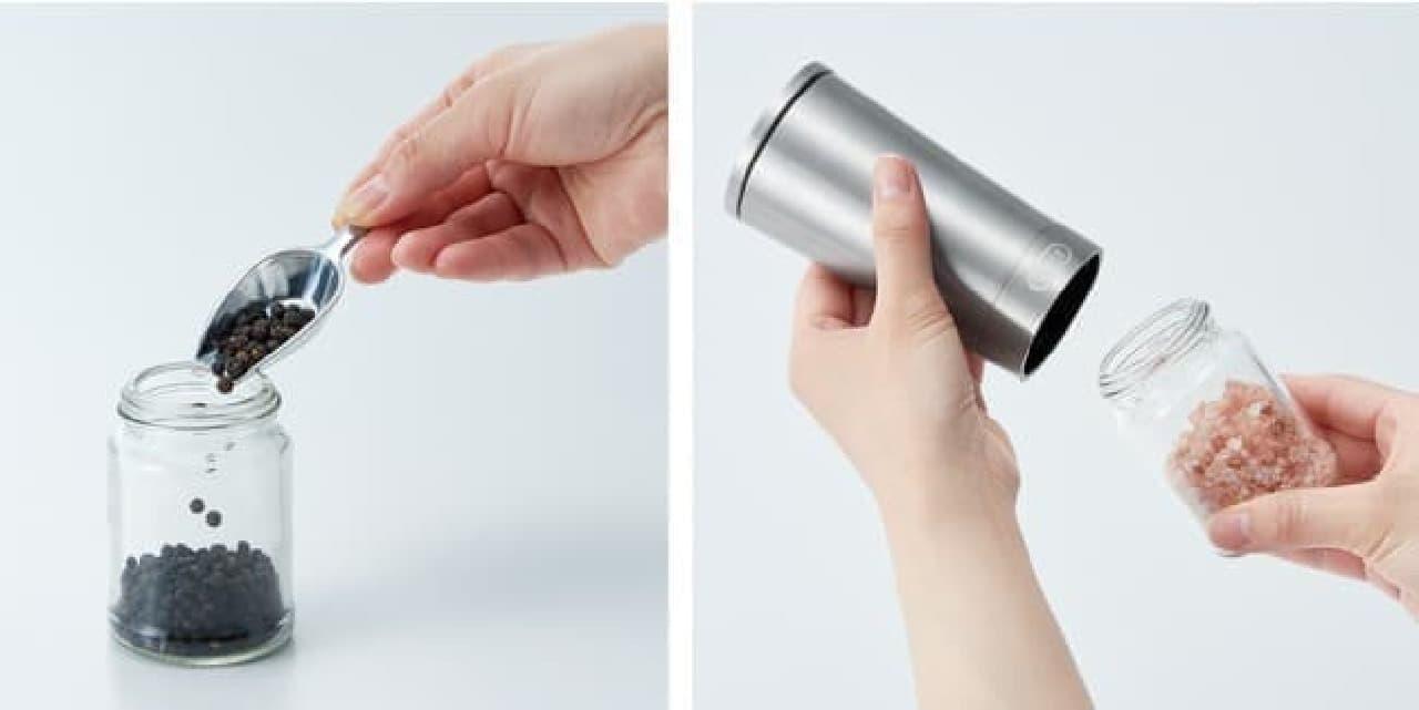 「Toffy 電動ソルト&ペッパーミル」発売 -- 片手で簡単&スタイリッシュな電動式ミル