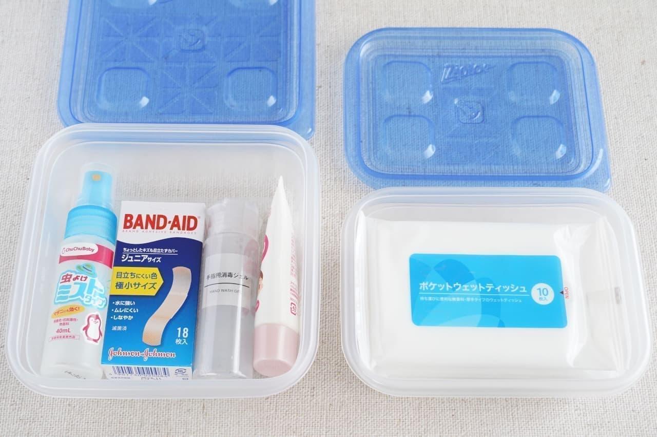 消毒液や絆創膏などをまとめたりするのに便利な「ジップロック コンテナー」
