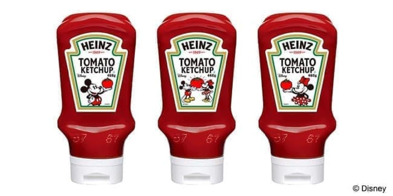 「ハインツ トマトケチャップ 逆さボトル」DisneyオリジナルラベルVer -- ミッキーマウスの可愛いラベル付き