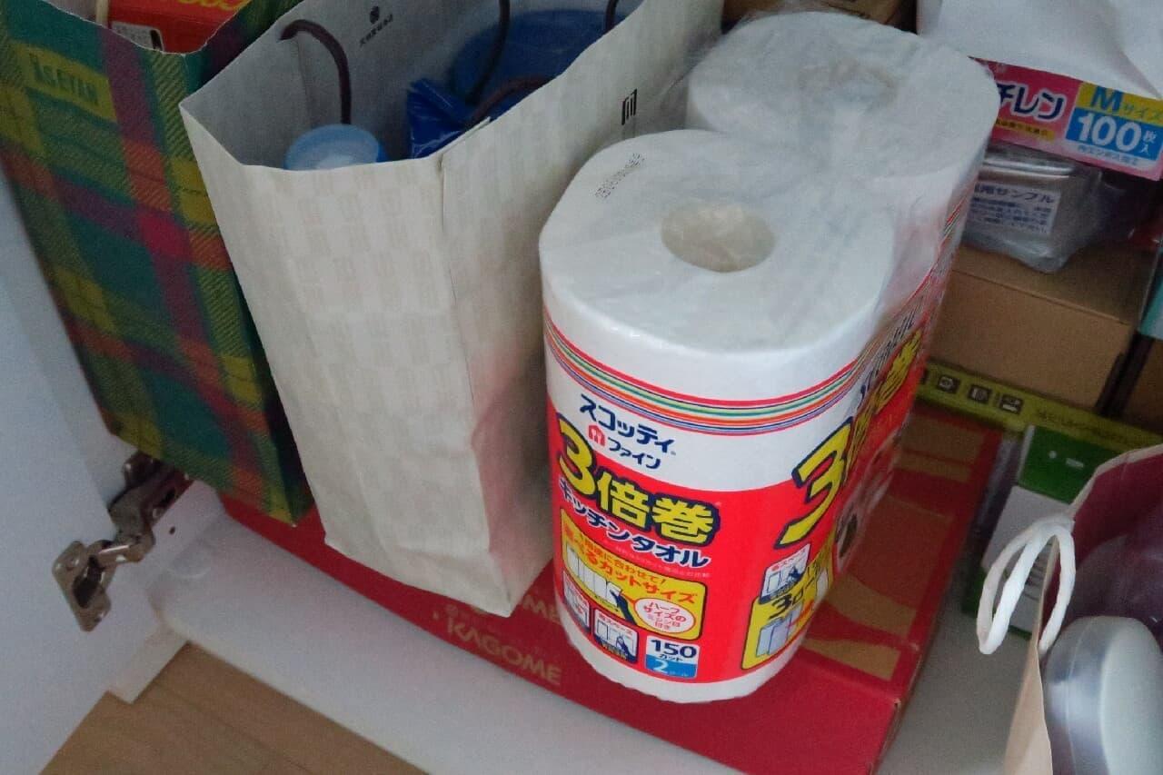 「スコッティ ファイン 3倍巻キッチンタオル」たっぷり&コンパクト収納!備蓄におすすめ