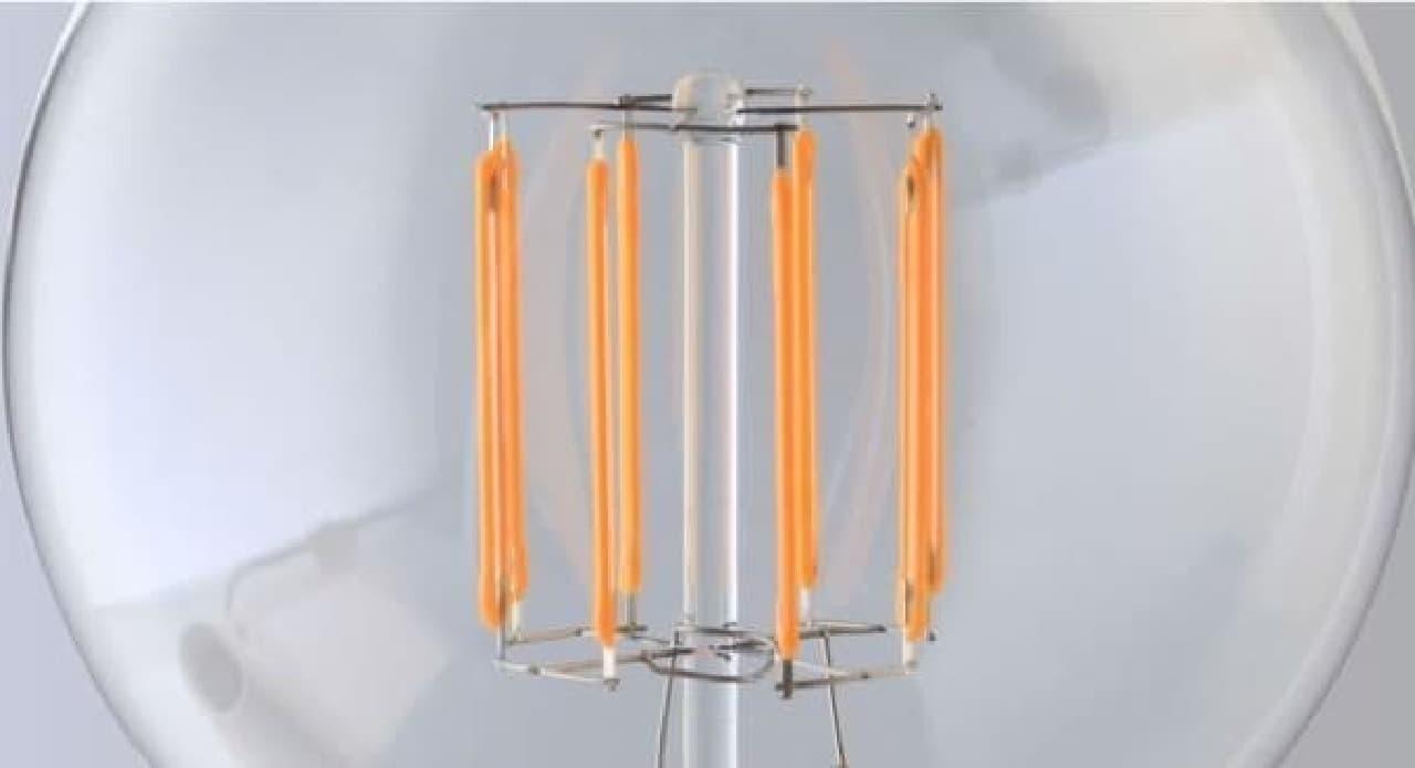 昔懐かし形状のフィラメントを LED で再現
