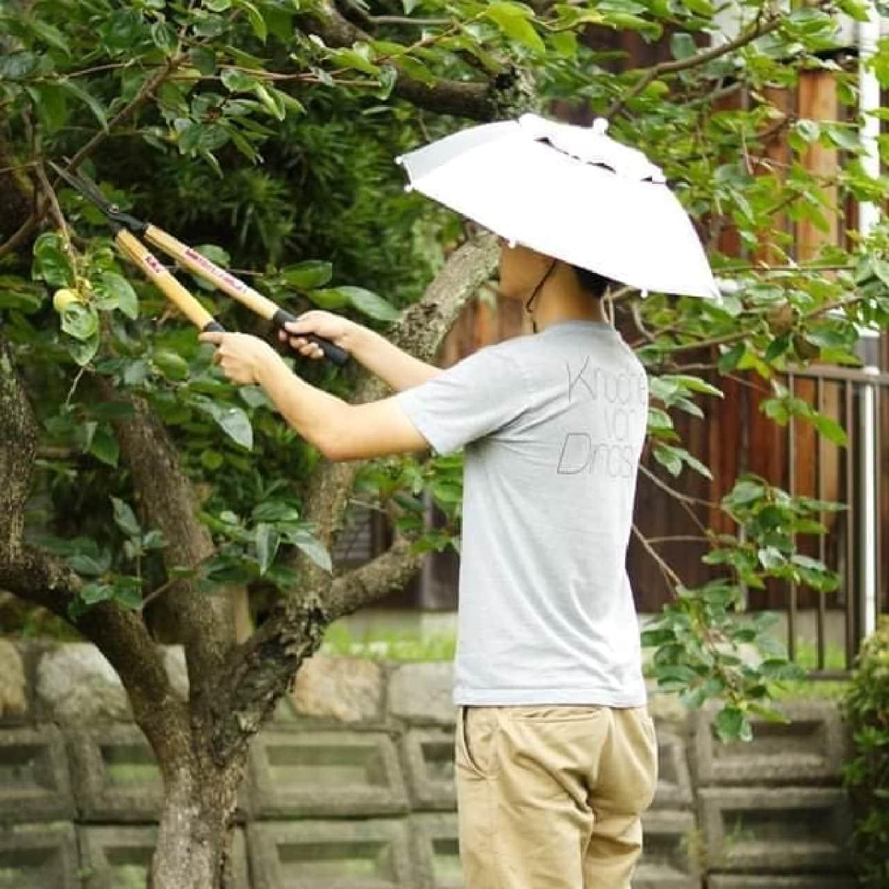 「ハッと!アンブレラ」は、「頭でさす日傘」