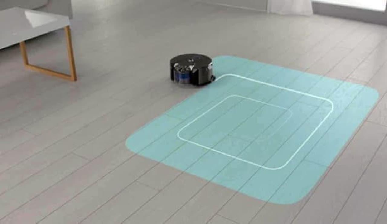 らせん状に動作することで、短時間での掃除が可能に