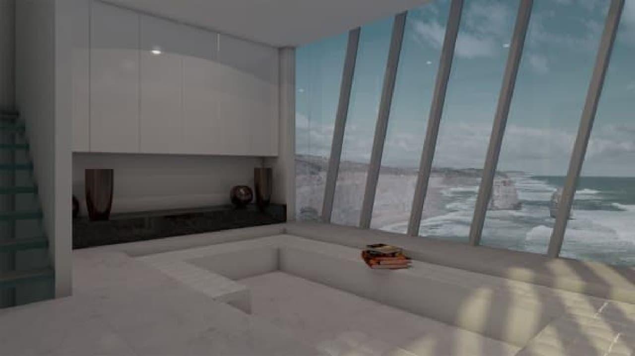 4階に設置されたリビングリーム  実はここも、海の上!