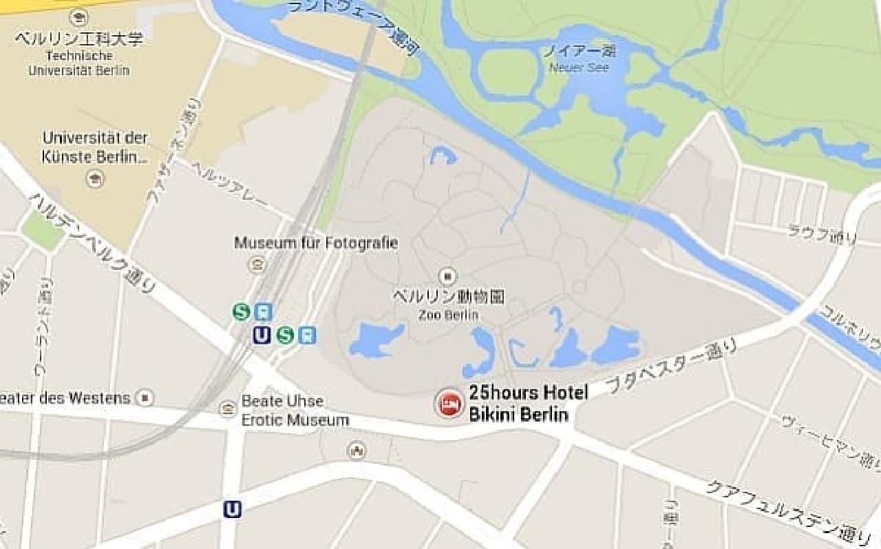 「25hours Hotel Bikini」所在地  (出典:Google マップ)