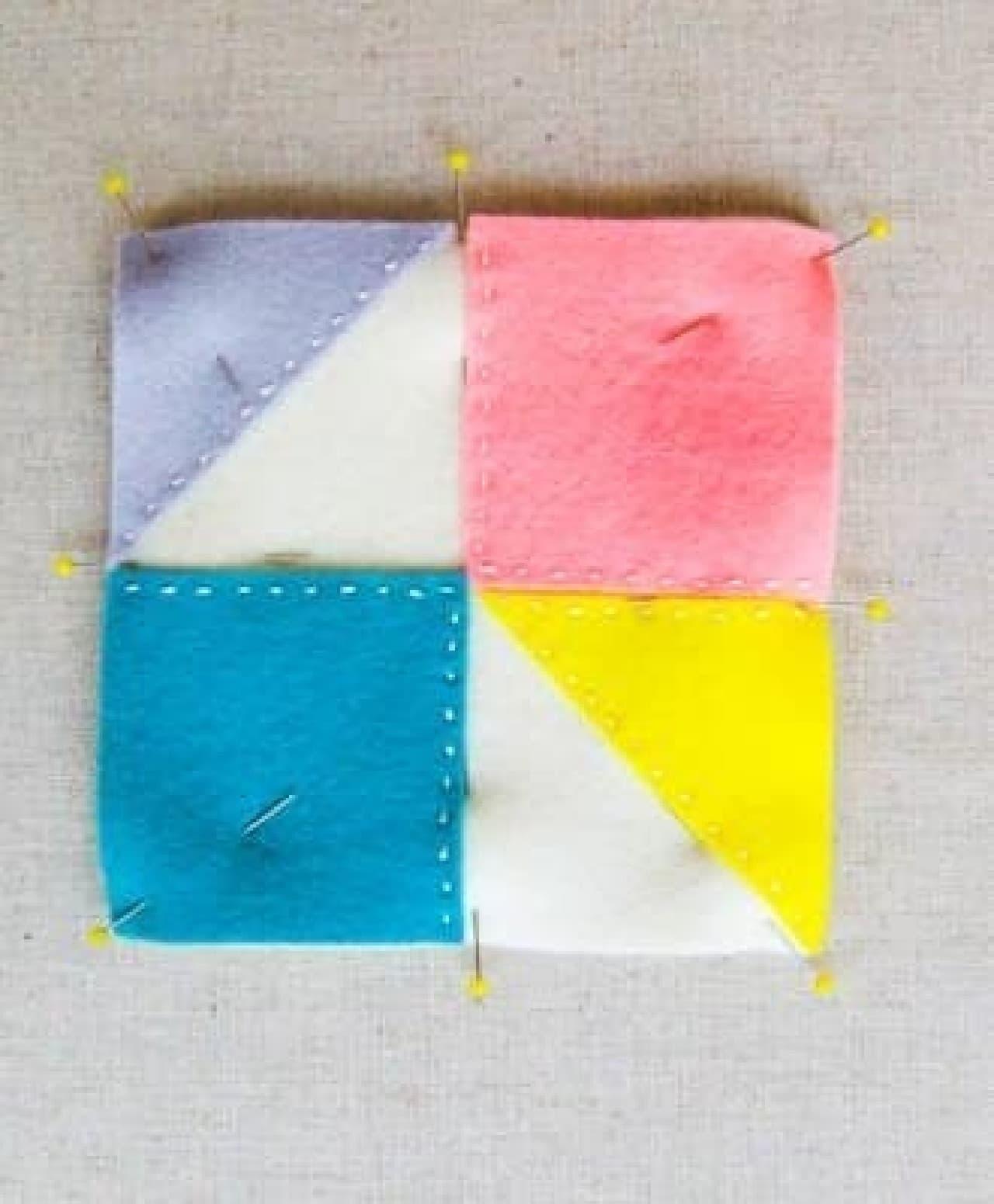 ランニングステッチでちくちく…  四方は最後にぐるりと縫い付けます