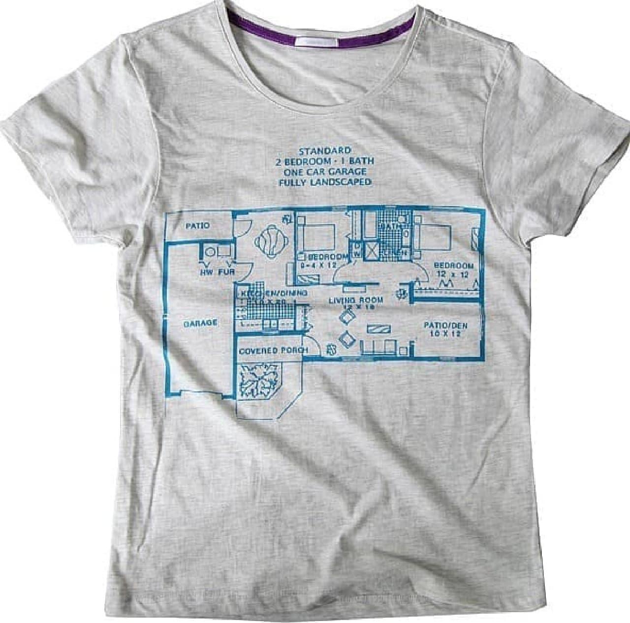 ニューヨークの間取りがプリントされた「間取り II デザインTシャツ」