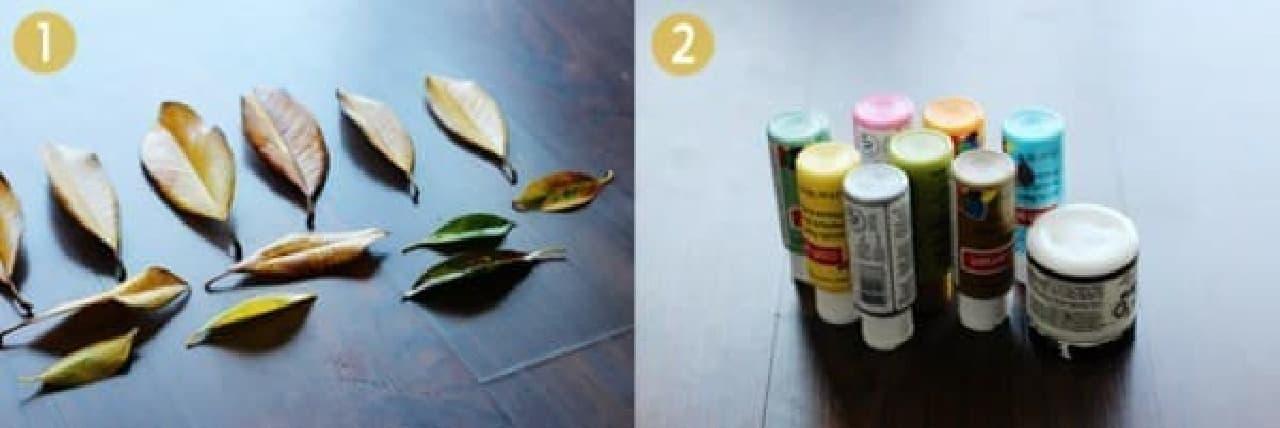 葉っぱと塗料を用意